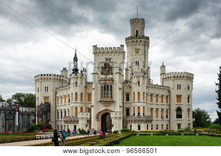 Fasade of Castle in Hluboka nad Vltavou, Czech Republic