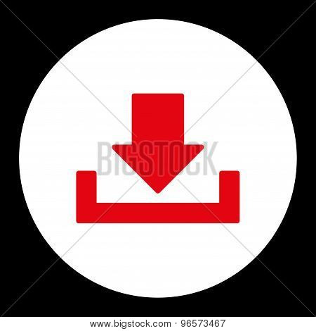 Download icon from Primitive Round Buttons OverColor Set. This round flat button is drawn with red and white colors on a black background. poster