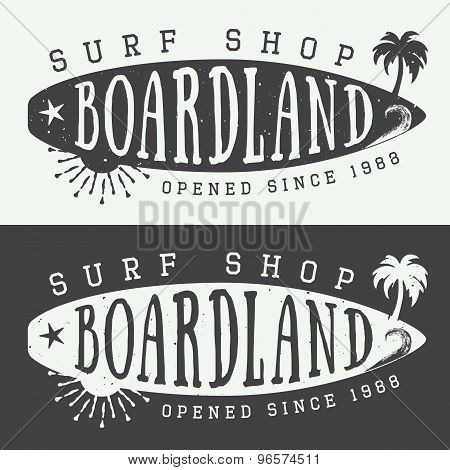 Set Of Surfing Logos, Labels, Badges And Elements In Vintage Style.