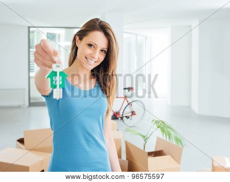 Beautiful Woman Holding House Keys