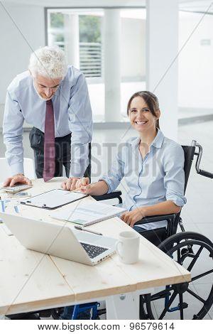 Confident Businesswoman In Wheelchair