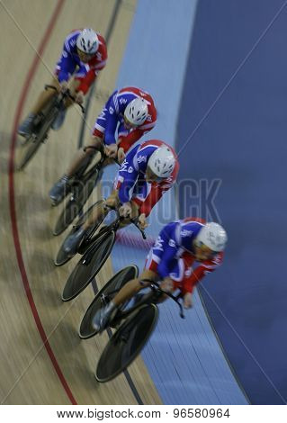 LONDON, ENGLAND. FEBRUARY 19 2012: Great Britain team compete in the team pursuit at the UCI Track Cycling World Cup at the London Velodrome, Queen Elizabeth 2nd Park