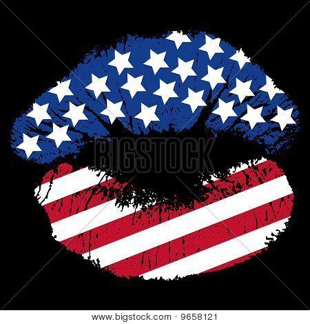 Patriotic Lip Print
