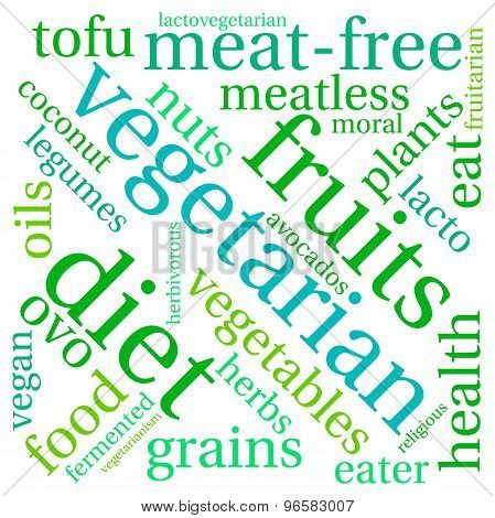 Vegetarian word cloud on a white background. poster