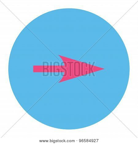 Arrow Axis X icon from Primitive Round Buttons OverColor Set. This round flat button is drawn with pink and blue colors on a white background. poster