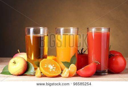 Three glasses of juice.