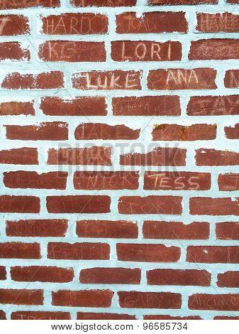 Brick Wall With Graffiti