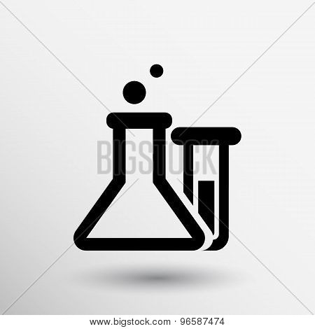 Chemical flask icon laboratory glass beaker lab vector. poster
