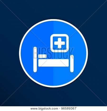 Hospital bed and cross, vector icon doctor health care
