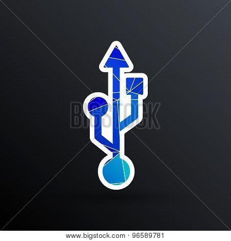 usb icon file compartment hardware vector symbol