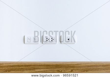 Wall Plug For Electric, Telephone And Cable Television
