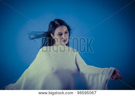 Talent, Greek muse with white veil, beautiful brunette woman with long cloth