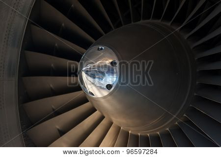 Close up Jet engine turbine front view
