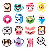 Vector icons set of Japanese Kawaii cartoon characters isolated on white - different breakfast food and beverages poster