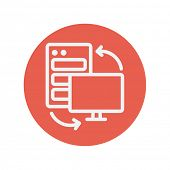 Personal computer set CPU thin line icon for web and mobile minimalistic flat design. Vector white icon inside the red circle. poster