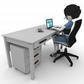 3d girl working in the office isolated on white poster