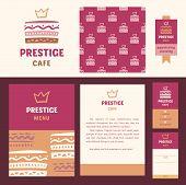 Vector stationery template design for cafe. Prestige cafe, elegant style. Documentation for business, logo design, corporate style. Menu. Design element for cafe. poster