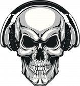Vector illustration, human skull listening to music on headphones poster