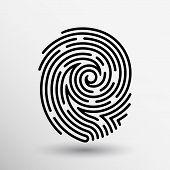 Fingerprint icon finger print vector id theft macro stamp. poster