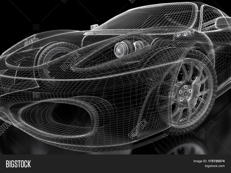 Car Vehicle 3d Blueprint Mesh Model Image & Photo | Bigstock