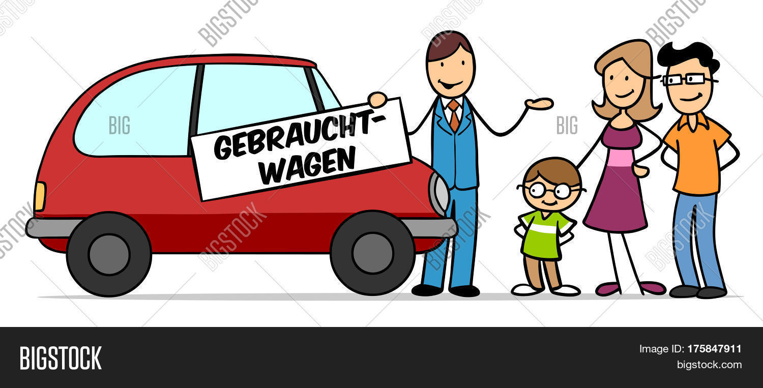 Cartoon Family Ing Used Car With Dealer Holding German Sign Gebrauchtwagen