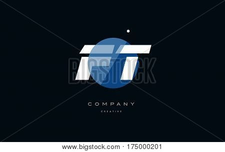 Ft F T  Blue White Circle Big Font Alphabet Company Letter Logo