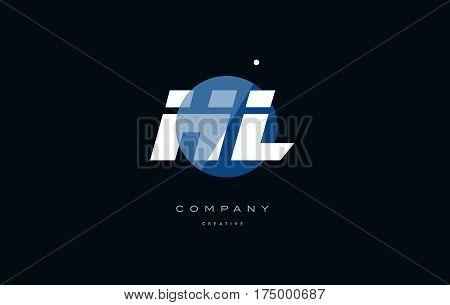 Hl H L  Blue White Circle Big Font Alphabet Company Letter Logo