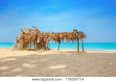 Hovel made of palm leaves on the beach