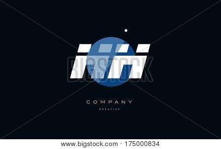 Hh H H  Blue White Circle Big Font Alphabet Company Letter Logo