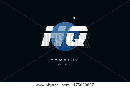 Hq H Q  Blue White Circle Big Font Alphabet Company Letter Logo