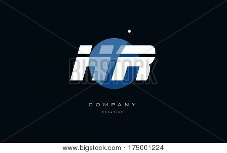 Hr H R  Blue White Circle Big Font Alphabet Company Letter Logo