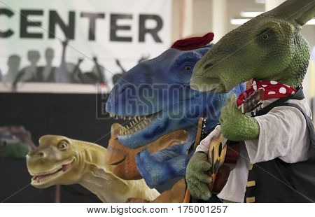 TUCSON, ARIZONA, FEBRUARY 20. The Tucson Expo Center on February 20, 2017, in Tucson, Arizona. A Dinosaur Band at T-Rex Planet at the Tucson Expo Center in Tucson, Arizona.