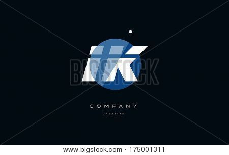 Ik I K  Blue White Circle Big Font Alphabet Company Letter Logo