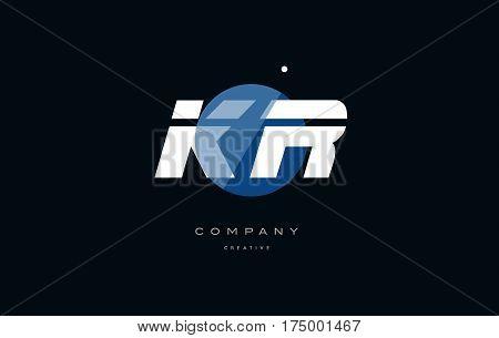 Kr K R  Blue White Circle Big Font Alphabet Company Letter Logo