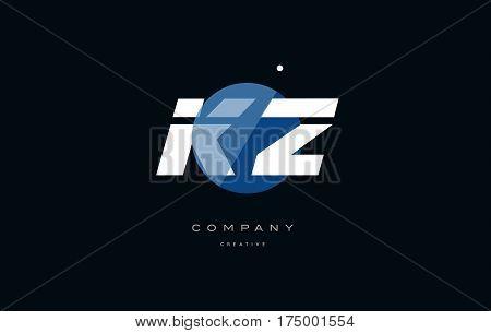 Kz K Z  Blue White Circle Big Font Alphabet Company Letter Logo