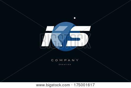 Ks K S  Blue White Circle Big Font Alphabet Company Letter Logo