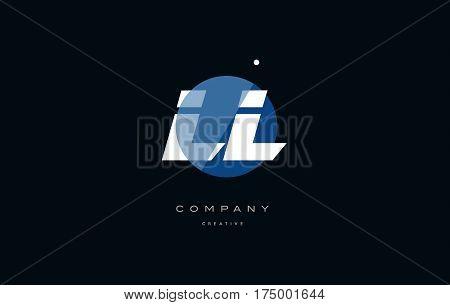 Ll L  Blue White Circle Big Font Alphabet Company Letter Logo