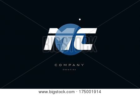 Mc M C  Blue White Circle Big Font Alphabet Company Letter Logo