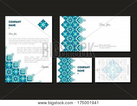 Set of corporate business A4 cards and calendars 2017 for company. Geometric design. Vintage background for marketing. Identity elements for professionals. Rectangles and triangles ornament. Vector.