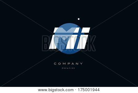Mi M I  Blue White Circle Big Font Alphabet Company Letter Logo