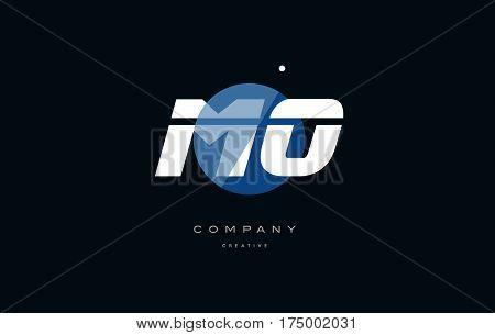 Mo M O  Blue White Circle Big Font Alphabet Company Letter Logo