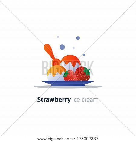 Strawberry ice cream dish, scoop with topping, gelato portion, dessert on plate with spoon, vector flat design illustration icon
