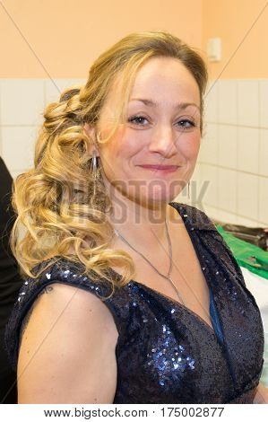 Pretty Blonde Middle-aged Woman Dressed For The Evening Of Tonight