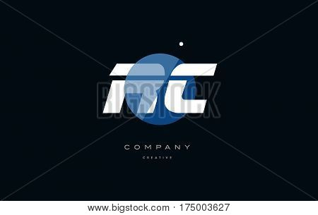 Rc R C  Blue White Circle Big Font Alphabet Company Letter Logo