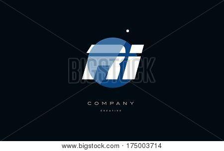 Ri R I  Blue White Circle Big Font Alphabet Company Letter Logo