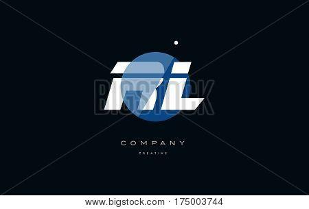 Rl R L  Blue White Circle Big Font Alphabet Company Letter Logo