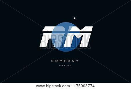 Rm R M  Blue White Circle Big Font Alphabet Company Letter Logo