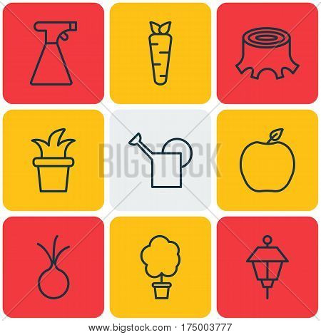 Set Of 9 Planting Icons. Includes Wood Pot, Bush Pot, Root And Other Symbols. Beautiful Design Elements.
