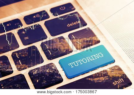 TUTORING: Close up green button keyboard computer. Vintage Effects. Digital Business and Technology Concept.