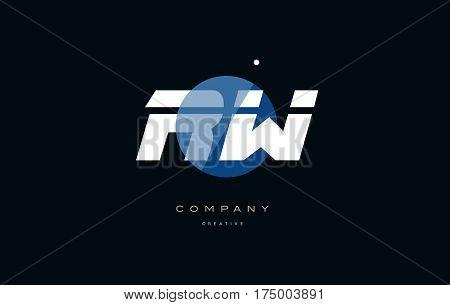 Rw R W  Blue White Circle Big Font Alphabet Company Letter Logo